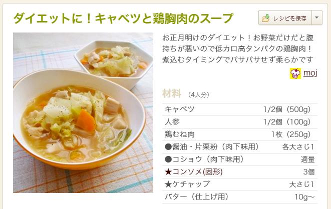 ダイエットに!キャベツと鶏胸肉のスープ