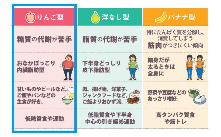 【肥満遺伝子タイプ】リンゴ型